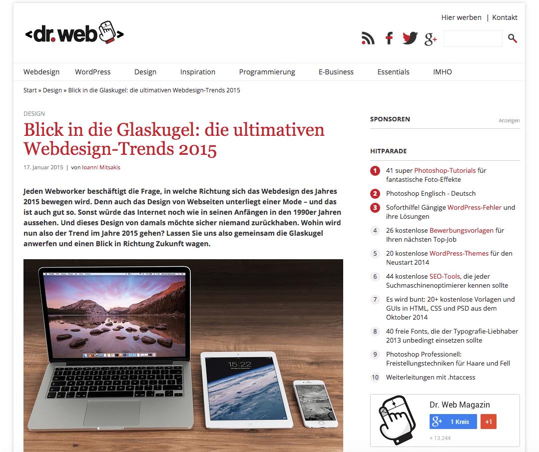 Webdesign-Trends. Wo geht es hin?
