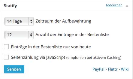 Bildschirmfoto Statify Plugin
