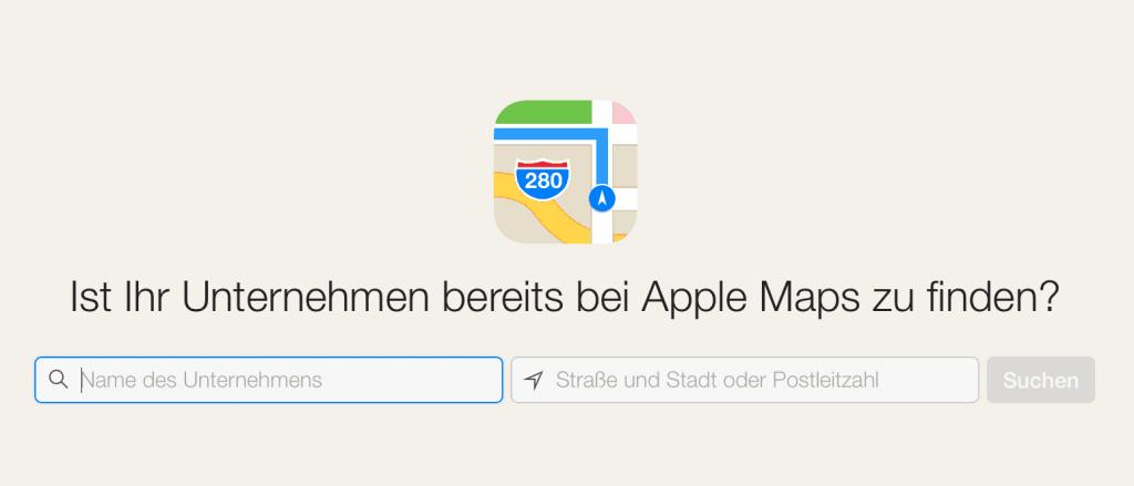 Screenshot von der Apple Maps Connect Seite