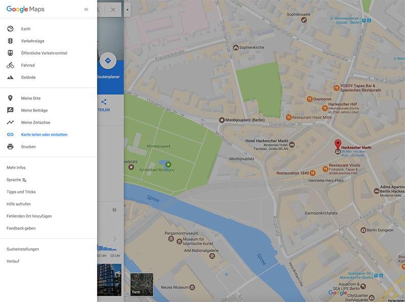 Menü Google Maps