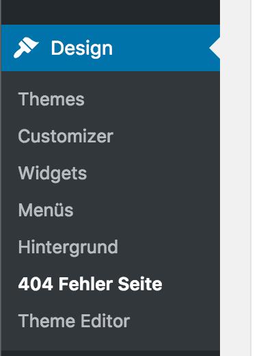Position des 404-Seite Plugins im Dashboard