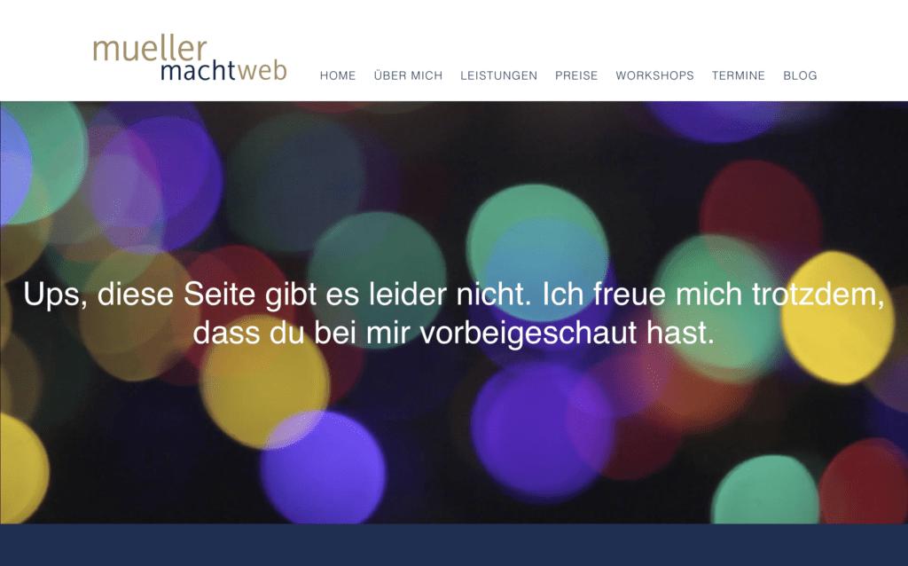 Screenshot einer 404-Seite