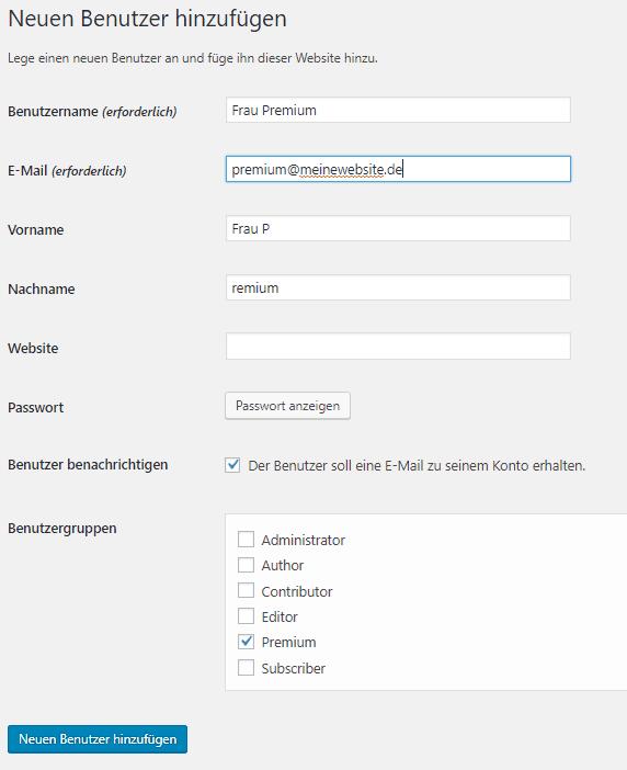 Screenshot zum Thema Members Plugin WordPress