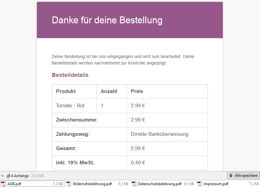 Emailanhänge Germanized Woocommerce