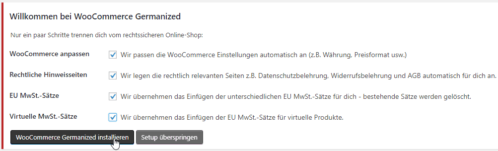 Installation Germanized Woocommerce
