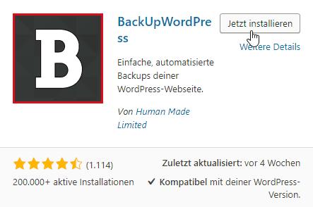Backup erstellen mit BackupWordPress