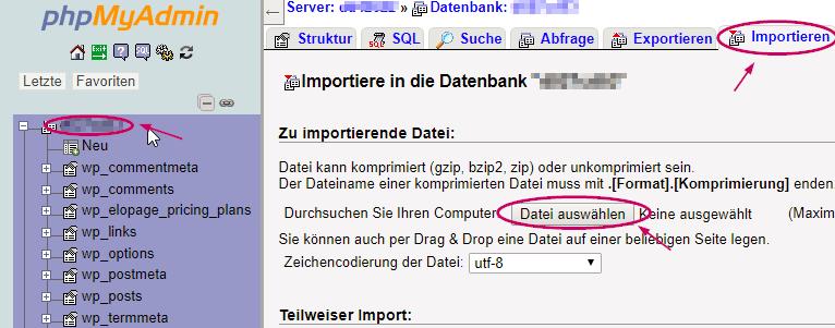 Backupwordpress Backup wiederherstellen